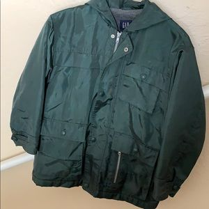 GAP forest green nylon utility rain coat
